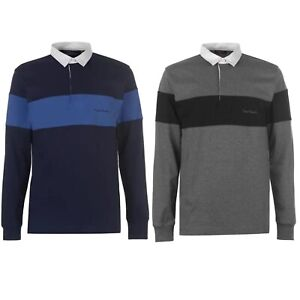 Pierre-Cardin-Mens-LS-Long-Sleeve-Rugby-Polo-Shirt-Top-Navy-Charcoal-S-M-L-XL