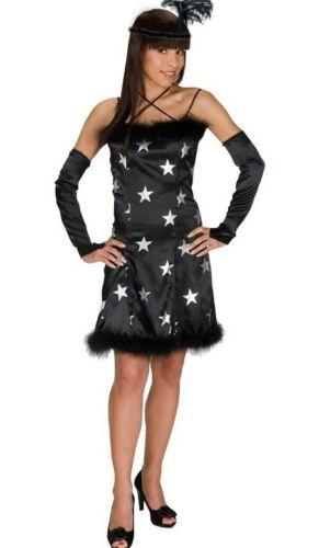 CHARLSTEN Kostüm Kleid 20-er Jahre Tanzkleid+Haarreif+Armstulpen schwarz//silber