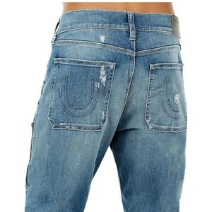 7c5b24bec31 True Religion Men's Logan Workwear Distressed Relaxed Taper Jeans in ...