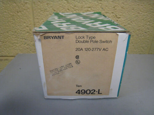 New Bryant 4902L 20A 120277V Lock Type Locking Toggle Switch Box of 10