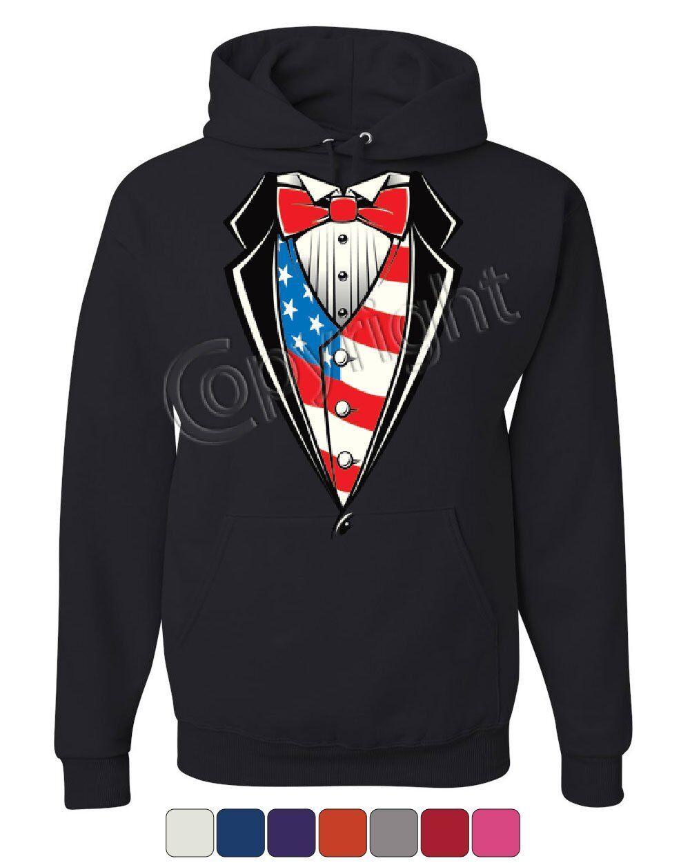 American Flag Tuxedo Hoodie Funny 4th of July Stars and Stripes Sweatshirt