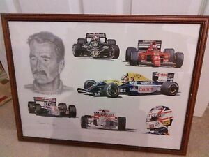 A Tribute To Nigel Mansell By Stuart Mcintyre Framed 18 X 24 Print
