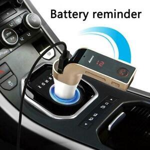 LCD-Inalambrico-Bluetooth-Transmisor-FM-MP3-coche-AUX-USB-cargador-de-manos-libres-201-W7Y6