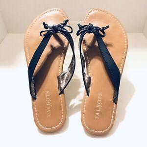 Talbots-Womens-Shoes-Flip-Flops-Black-Faux-Patent-Leather-Bows-Flat-P622