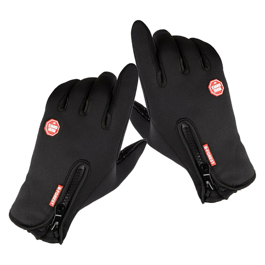 Bike Gloves Thermal Fleece Motorbike Cycling Glove Touch Screen Mitten Black