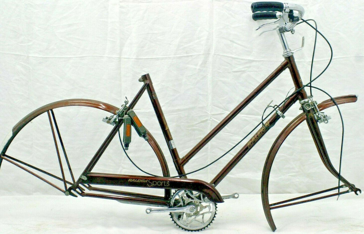 Raleigh deportes Vintage Crucero Marco de bicicleta Mediano 54cm década de 1970 ciudad Acero obras benéficas.