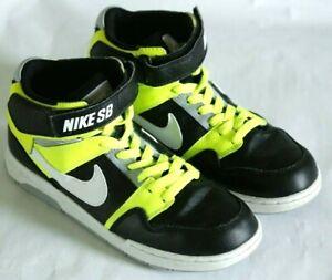 Nike SB B Mogan Mid 2 BWV Skateboard Sneakers, black white & yellow, size 5.5 Y