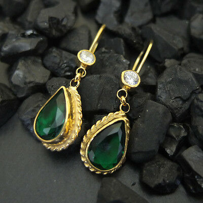 Handmade Designer Emerald Drop Earring Yellow Gold over 925K Sterling Silver