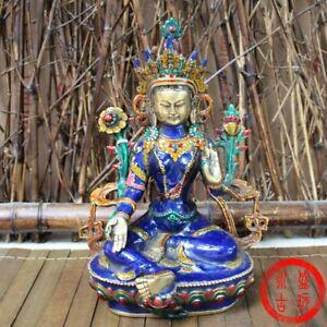 21cm-Tibetan-Buddhism-Cloisonne-Green-Tara-Statue-Noble-Decor-Buddha-goddess