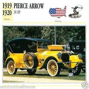 PIERCE-ARROW-38-HP-1919-1920-CAR-VOITURE-UNITED-STATES-ETATS-UNIS-CARD-FICHE