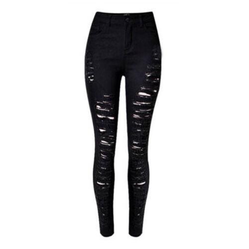 Women Stretch Skinny Ripped Denim Jeans Jeggings High Waist Pants Long Trousers