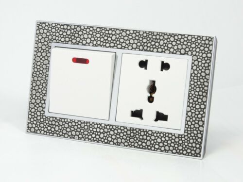 I LumoS AS Pearl Leather /& White 13A UK Single//Double Sockets /& Light Switches