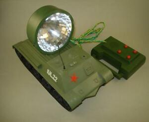 VINTAGE USSR RUSSIAN BATTLE TANK SEARCH-LIGHT TOY BATT. OPERATED REMOTE CONTROL