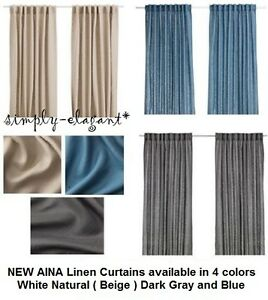 Ikea Curtains Linen Aina Pair Drapes Window Panels Gray
