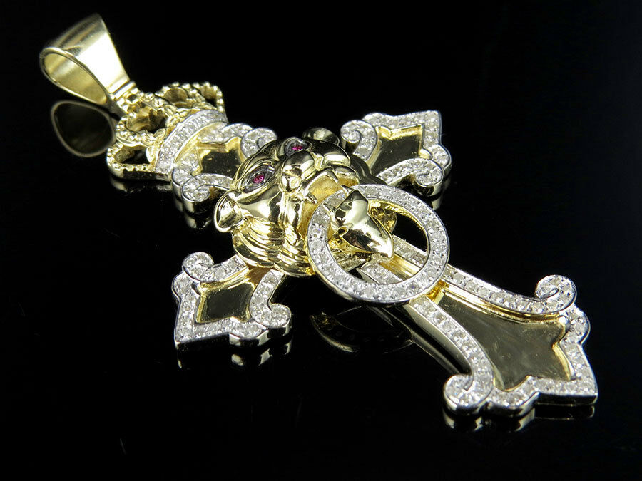 Men's 10K Yellow gold Genuine Diamonds Lion Designer Cross Pendant 0.90ct 2.5