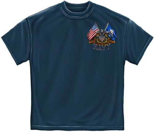 New NAVY SHIELD  DOUBLE FLAG  T Shirt