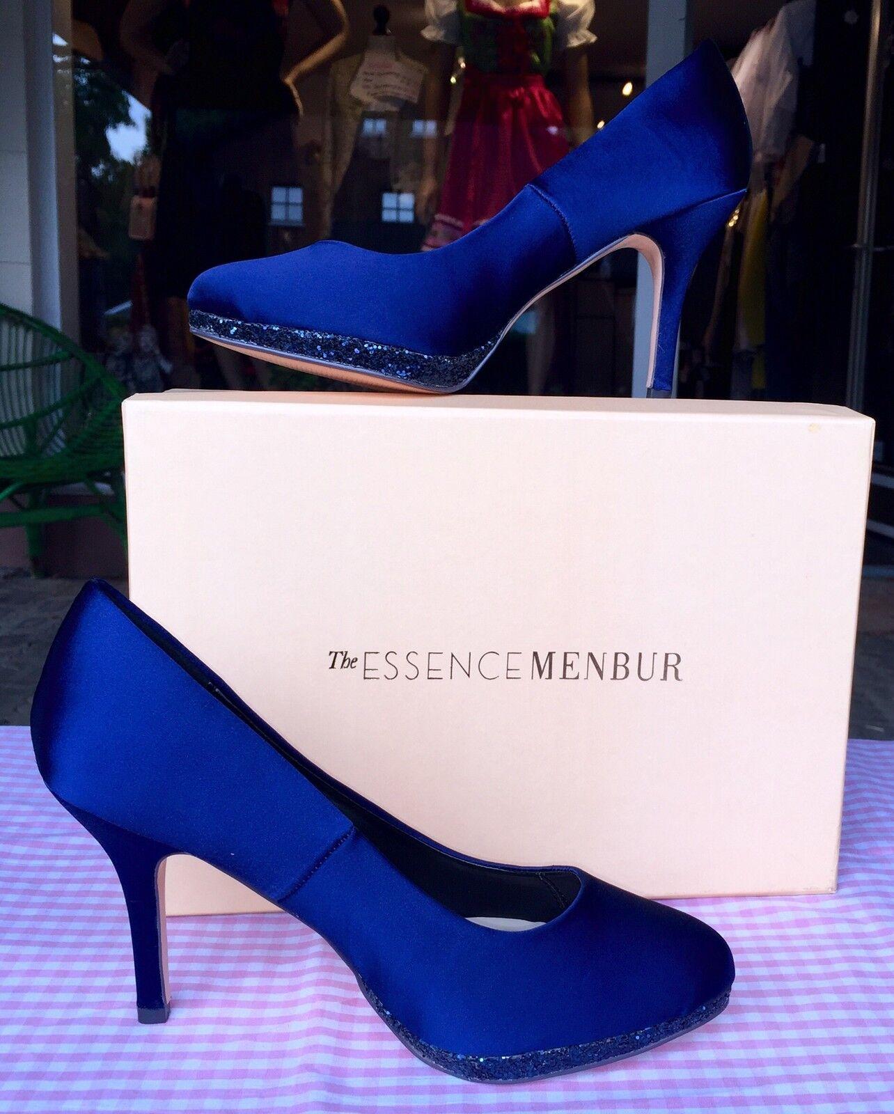 Pumps, Stilettos Menbur, Gr. 36, blau, satin, Essence Menbur, Stilettos Glitzer Schuhe, königsblau b02c6c