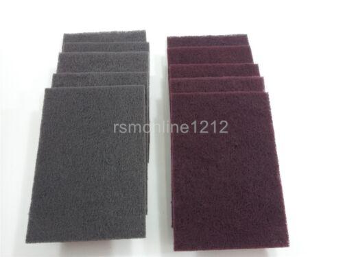 07447 Red Maroon Scotch-Brite 3M Scuff Pads Lot 5 Each 07448 Gray Ultra Fine