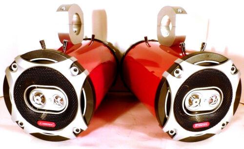 "Cadence 800 Watt 6.5/"" Wakeboard Tower Speakers Bling Red Gloss SJS Dezign ATVs"