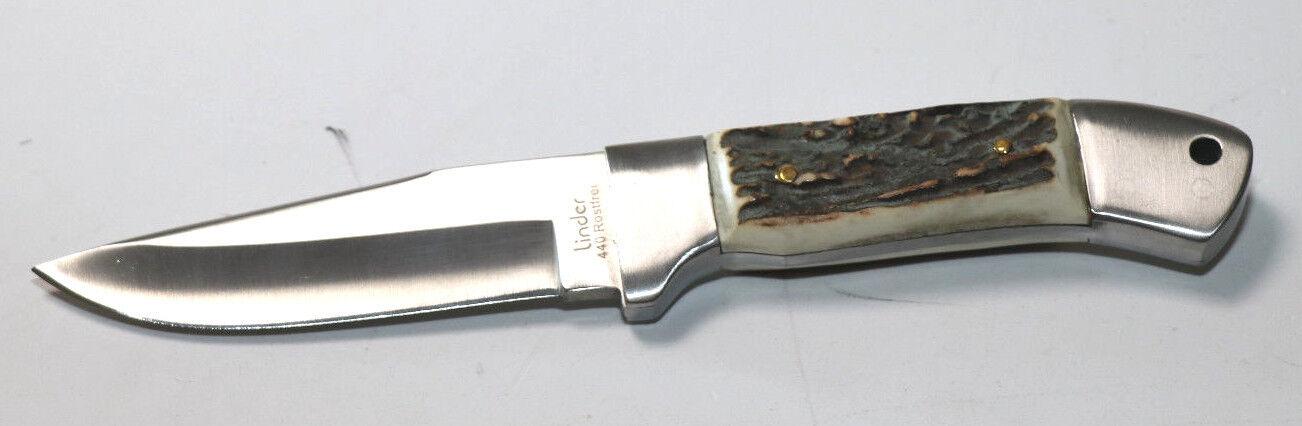 Linder Jagdmesser 440710 Hirschhorn, Lederscheide rostfrei 440A Stahl