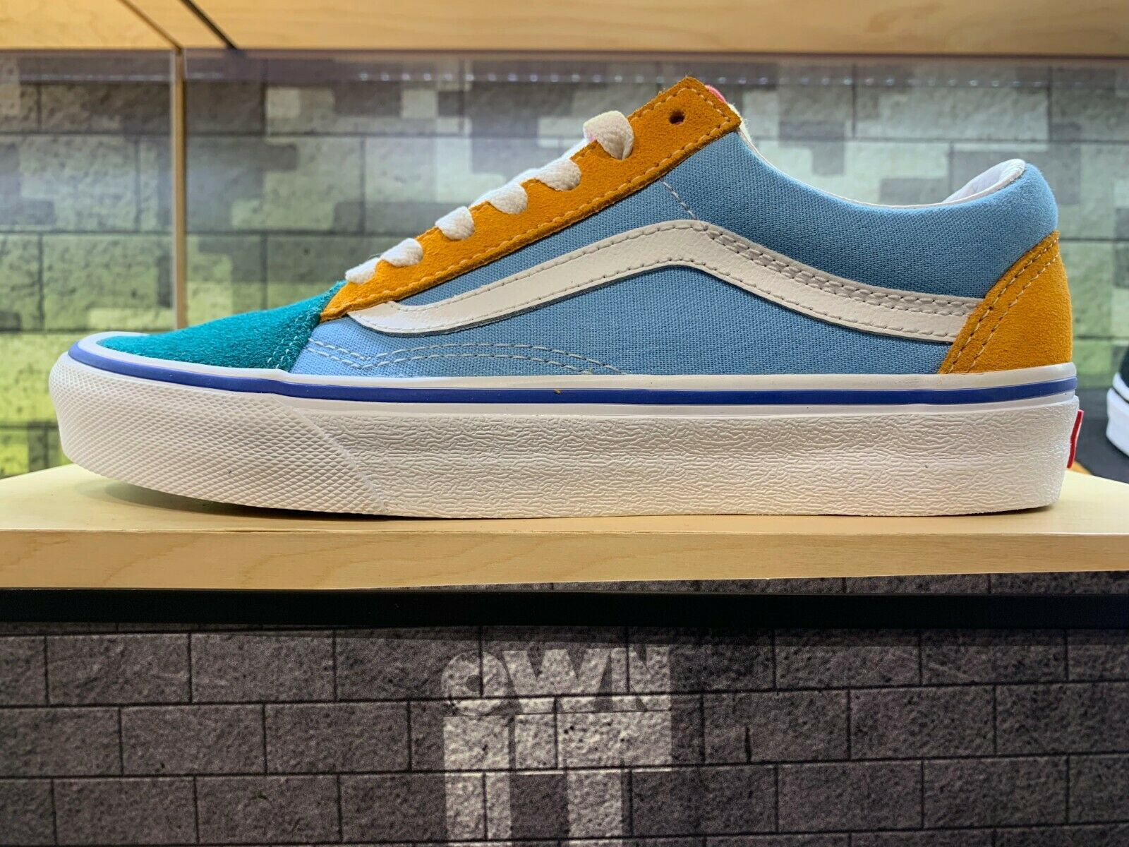 Vans Old Skool colorblock Multi Bright Yacht Club bluee Green Yellow Pink SZ 4-13