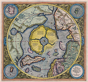 1595 Flat Earth Map North Pole Septentrionalium Terrarum Art