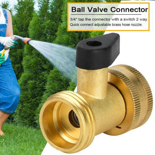Garden Brass Hose Tap Connector Threaded Ball Valves Water Splitter Pipe Adapter