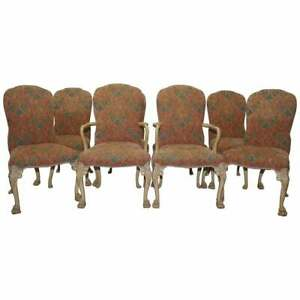RARE-SET-OF-8-ORIGINAL-WALNUT-ART-DECO-DINING-CHAIRS-WITH-LION-HAIRY-PAW-FEET