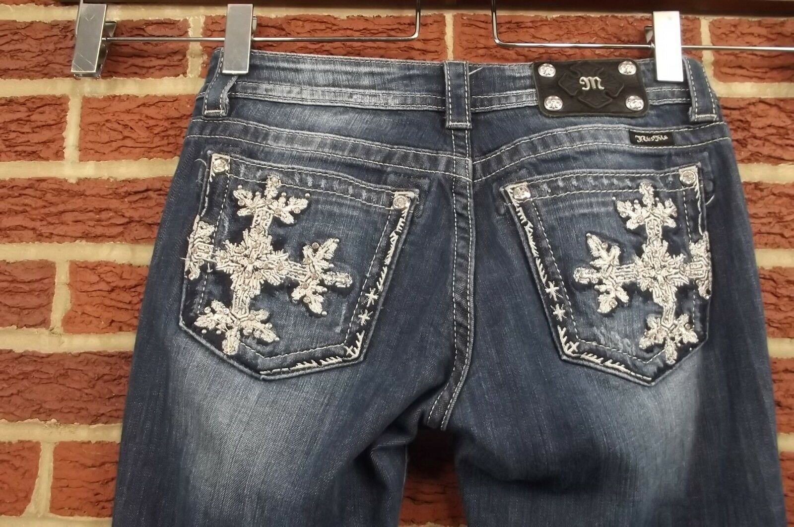 Miss Me Womens 29   8 Studded Jeweled Bling Distressed Denim bluee Jeans Bootcut