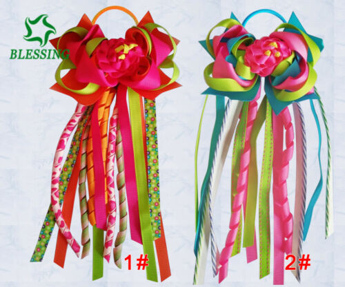 """50 BLESSING Girl 4.5/"""" Colorful Rose Ponytail Hair Bow Elastic Pony Streamers"""