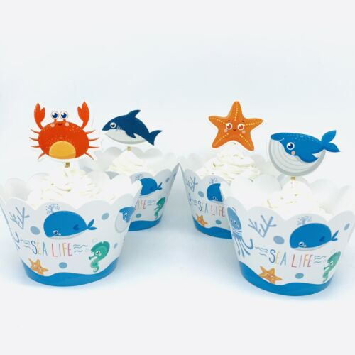 12 Ocean Sea Cupcake Wrapper Topper Party Supplies Lolly Loot Bag Cake Fish