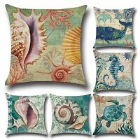 Vintage Sea Shell Sofa Pillow Case Cotton Linen Throw Cushion Cover Home Decor