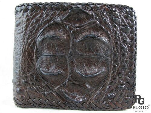 PELGIO Genuine Crocodile Alligator Head Bump Skin Leather Handmade Wallet Brown