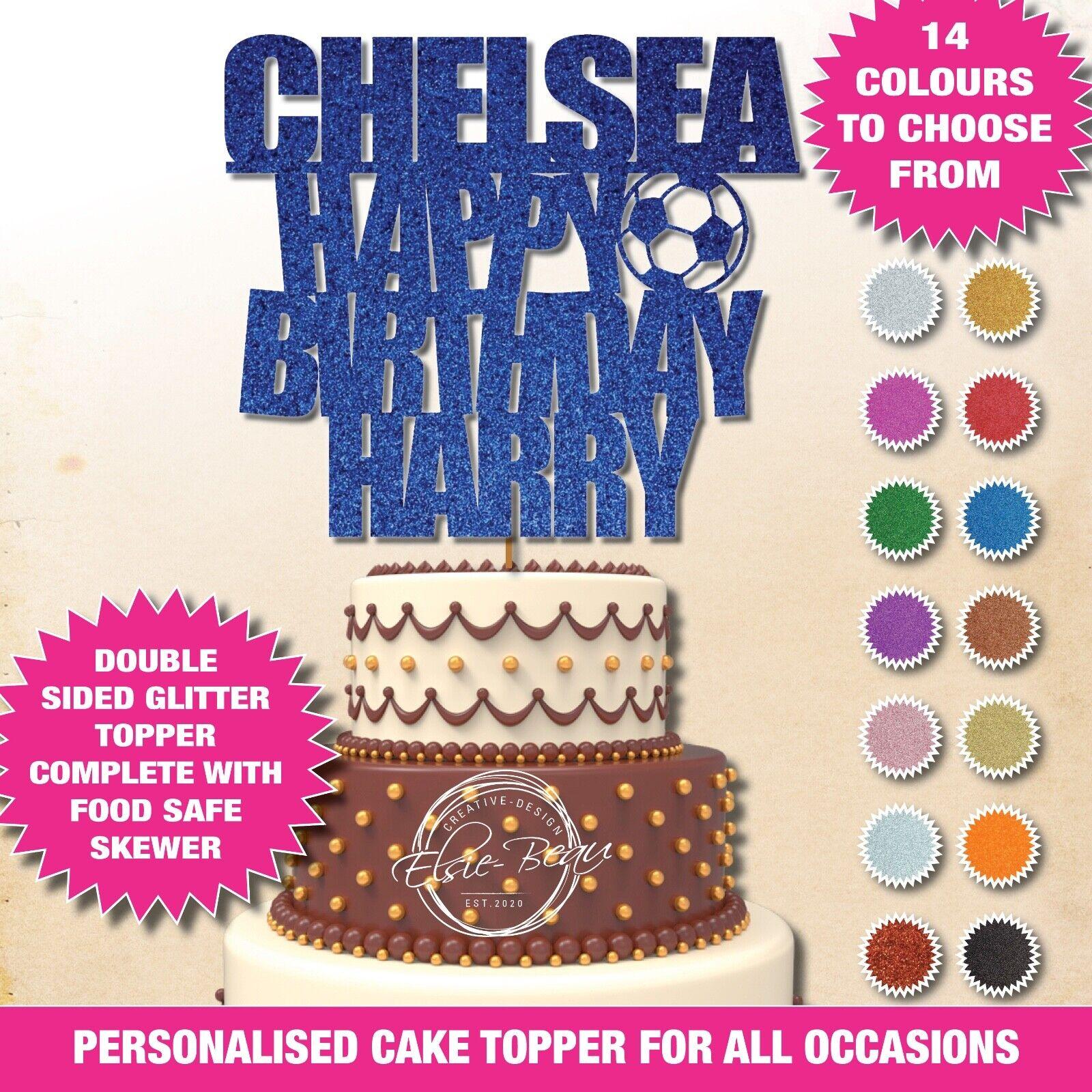 Chelsea Feliz Cumpleaños Doble Brillo Cake Topper Personalizado de fútbol del FC 42