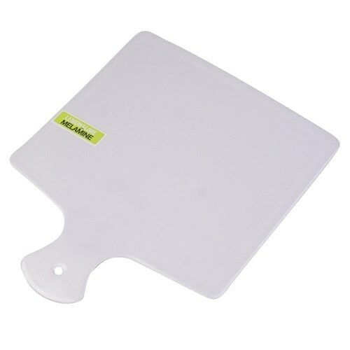 36PK WHITE MELAMINE SQUARE SERVING PADDLE PLATE TRAY  PLATTER CATERING 31cm