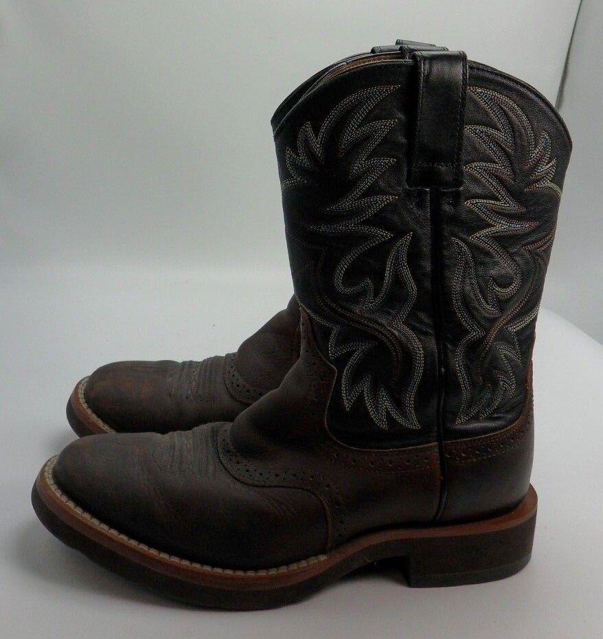 Ariat Marrón Cuero Negro botas De Vaquero Occidental Stockman Hombre D - 39927