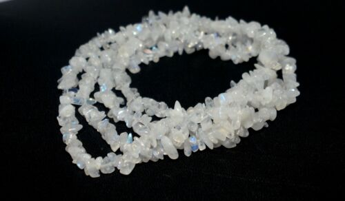 Blue Fire Rainbow Moonstone Gemstone Smooth Nuggets Chips Beaded Long Necklace