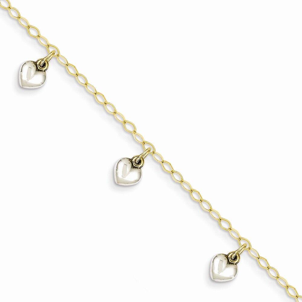 14k Two Tone gold White Puffed Hearts Dangling Charm Baby Bracelet 5.5  Kids