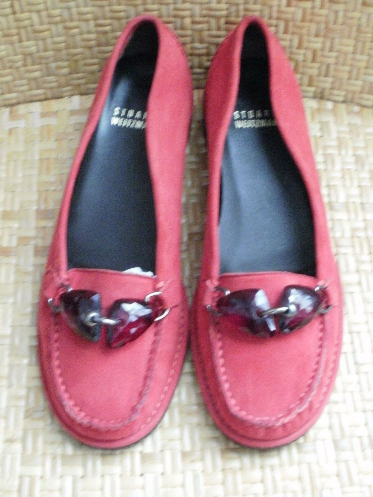 Stuart Weitzman jeweled - ROT Suede loafers w/ jeweled Weitzman front detail - Größe 6 / Spain 7906c2