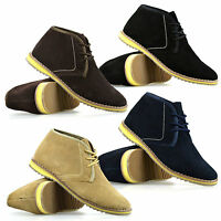 Mens New Leather Suede Casual Walking Chukka Lace Desert Ankle Boots Shoes Size