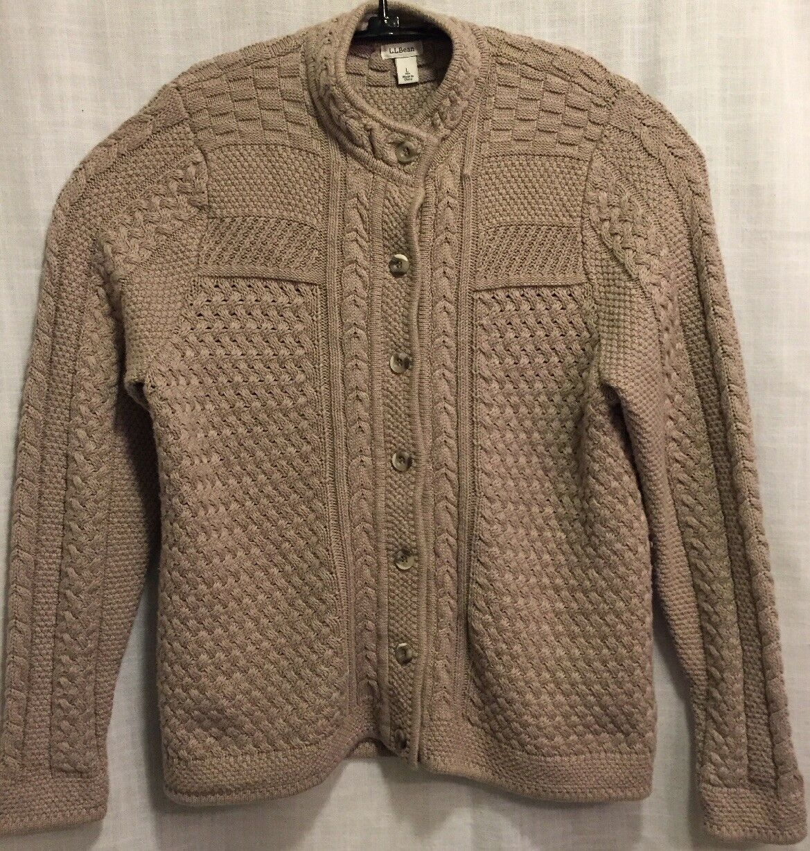 LL BEAN Stitchworks Cardigan Sweater Sz L Beige Heavy knit Button Front