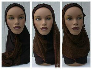 Kuwaiti-Hejab-Mona-Hijab-Abaya-Muslim-Islamic-Headcover-BROWN-Women-Head-Scarf