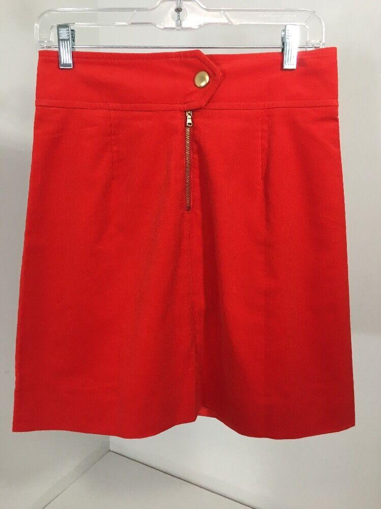 Womens J.crew Tall Corduroy Mini Skirt Fiery Sunset (Lava Red) Size T2 NWT