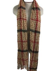 "puffy scarf plaid tan red black 80"" long neck fashion shawl with fringe"