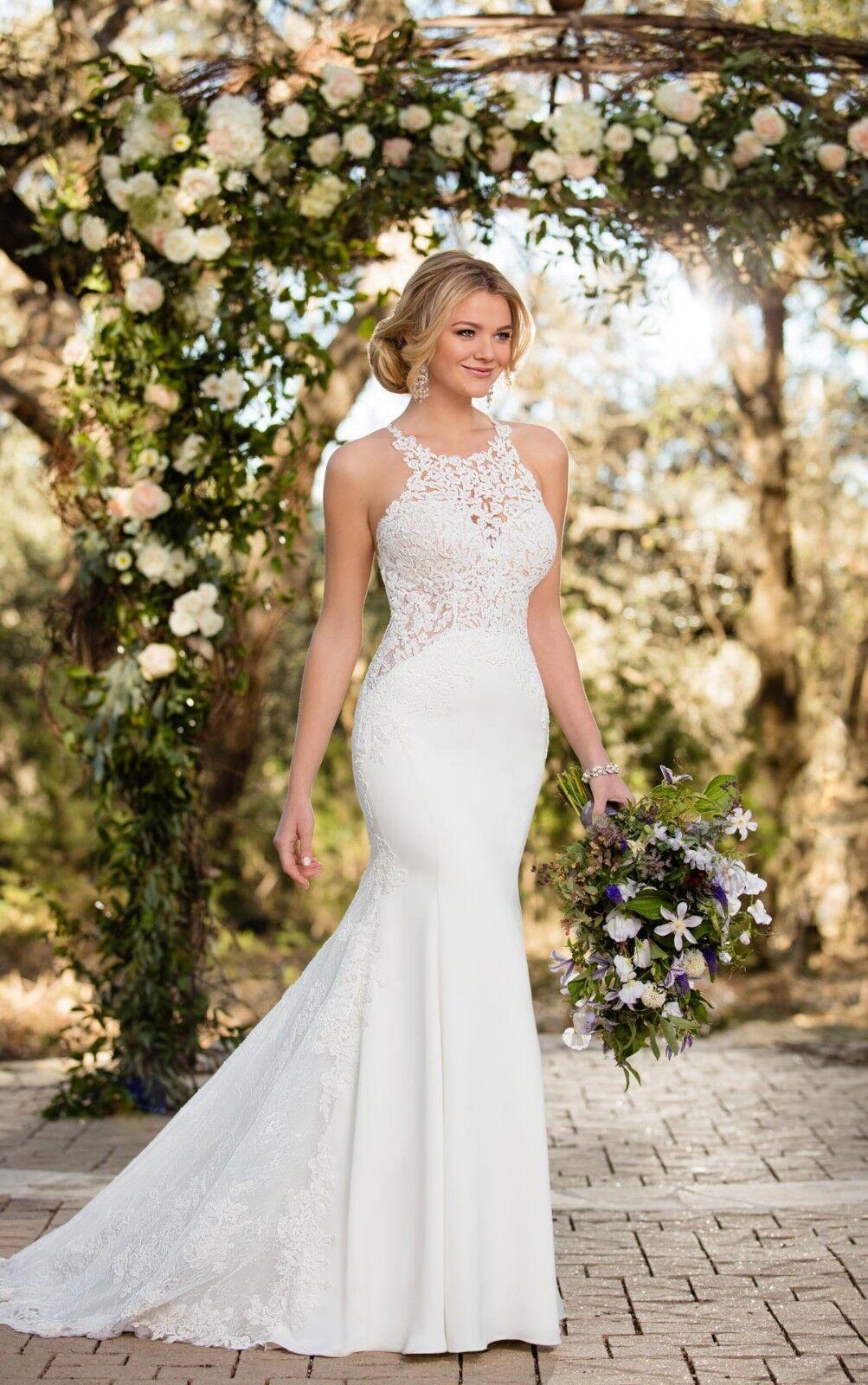 BNWT Essense of Australia ivory lace and crepe wedding dress size 14 RRP
