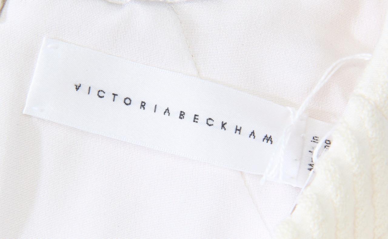 Victoria Beckham donna Avorio senza Maniche Scollo a a a V Bottoni Tubino 6 Nuovo 19896e