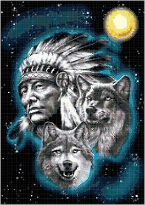 Cross Stitch Chart Pattern Cheif & Wolf Needlework Picture Design Craft