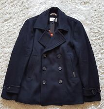 "SUPERDRY - Commodity Slim Pea Coat - RRP: £124.99! - Size XXL - CHEST 44"" - NAVY"