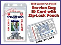 Service Dog Id Card >holographic< Comes W/ Zip-lock Pouch For Vest Ada Usa Tag