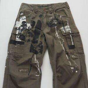 INDUSTRIE-99-Mens-Cargo-Jimi-Hendrix-Pants-Regular-Fit-Straight-Leg-W30-32-Khaki
